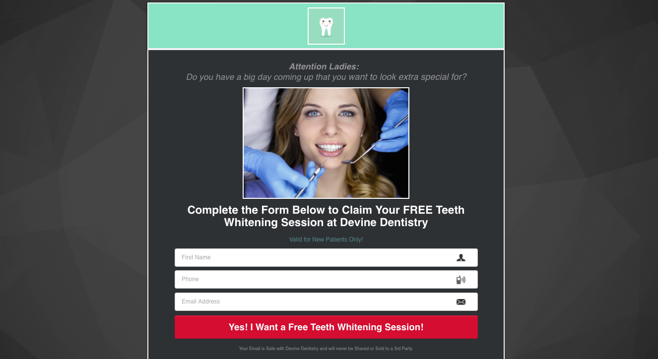 Example of a Dental Landing Page