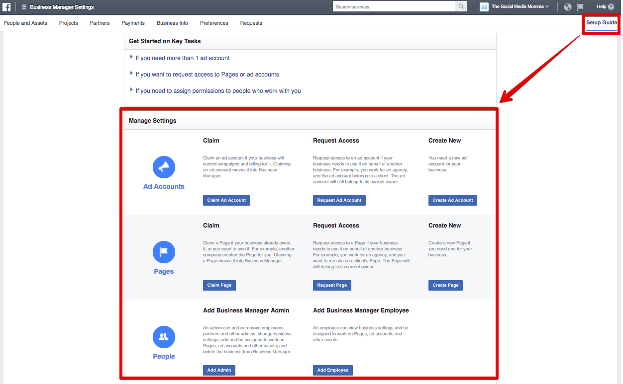 "Facebook Page Business Example To Do This, Click €�setup Guide"" In The Upper"