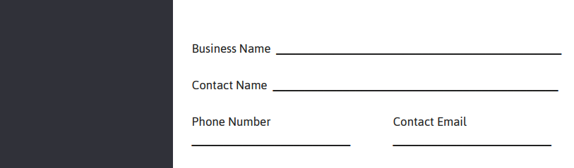 Business Name, Contact Name, Phone and Email