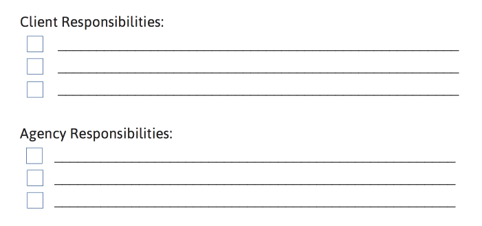 Client Responsibilities and Agency Responsibilities