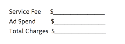 Service Fee, Ad Spend and Total Charges